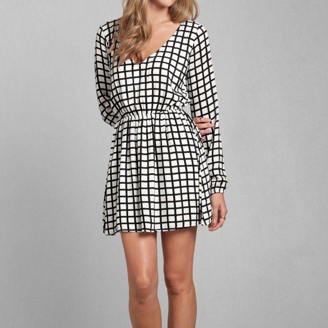 Vestito A&F a pieghe Harper - Bianco e Nero a Quadri
