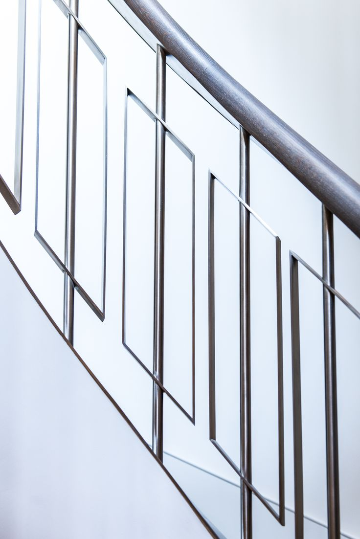 Detail of Almond Gold PVD coated coloured stainless steel balustrade by  John Desmond Ltd