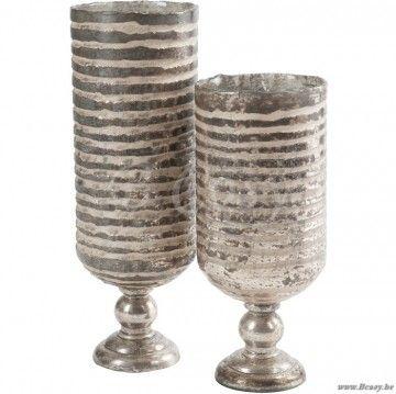 J-Line Antiek zilveren cilindrische vaas met voet in zilverkleurig gestreept glas S 45h