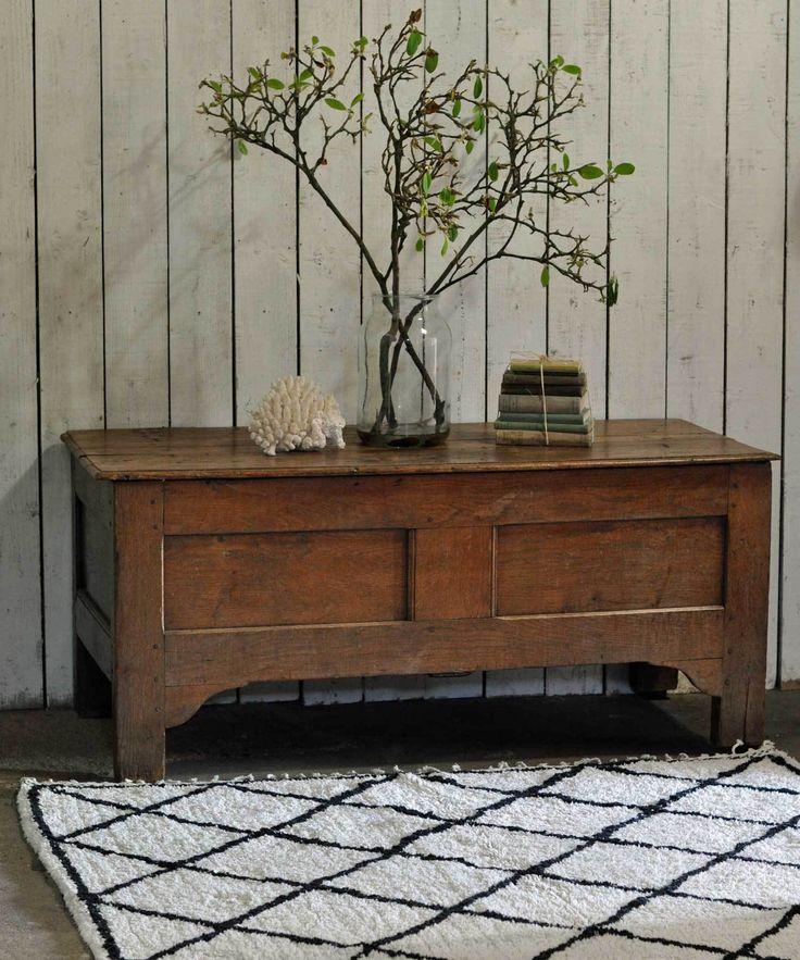 Antique Solid Oak Coffer Blanket Box Chest Trunk
