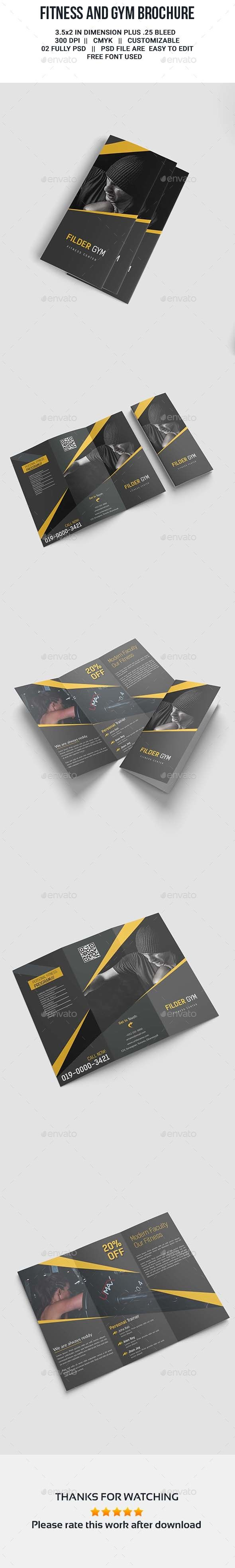 Fitness and Gym TriFold Brochure - Brochures Print Templates