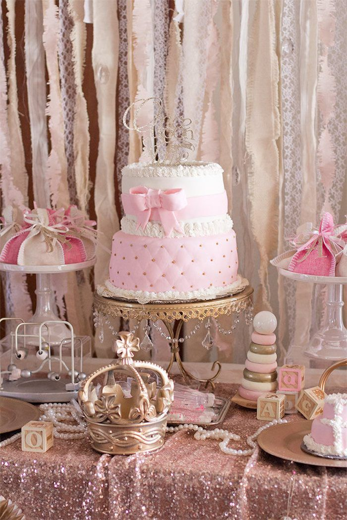 Cake Table From An Elegant Princess Baby Shower Via Kara 39 S