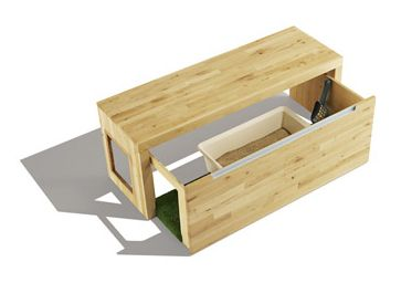 Litterbox Hideaway Bench I Like That It Slides Open A Longer Bench With Astroturf Or Something
