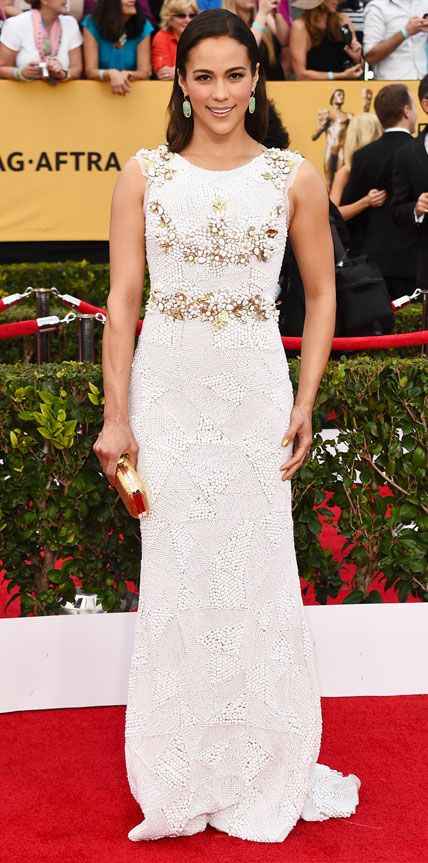 SAG Awards 2015: Paula Patton in a white gown.