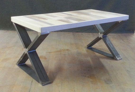 reclaimed wood coffee table with steel legs