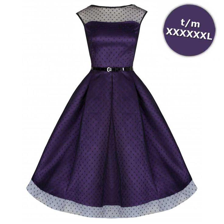 Aleena lange prom jurk met polkadot stippen violet paars - Vintage, 50's, Rockabilly