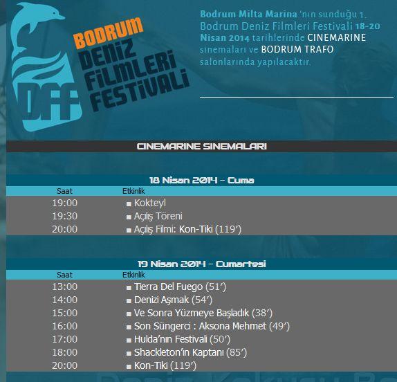 Bodrum Festival Programı denizfilmfest.com