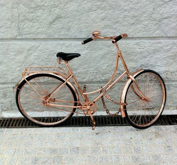 Van Heesch Design - DIY! 1. Salvage a crusier bike off of Craigslist 2. Wash, sand and use oil primer 3. Spray the parts with copper paint avoiding the wheels, seat and handles 4. Finish with a clear top coat 5. Wash with cold water *Never leave out in the rain!*
