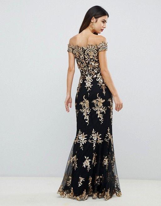 154591d13b Goddiva | Goddiva off shoulder bardot placement lace maxi dress in black  and gold