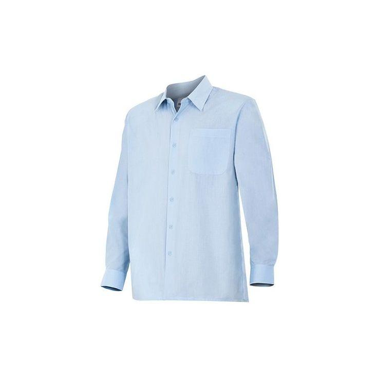 Chemise de travail à boutons 2 poches manches longues homme 65% polyester 35% coton 104 gr/m2 – Bleu Azur/Gris – CT520 – Velilla – taille: 3XL