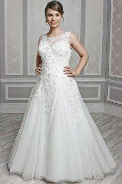 Beautiful A line Bateau Chapel Train Lace Fabric Plus Size Wedding Dresses With Beading Style pw