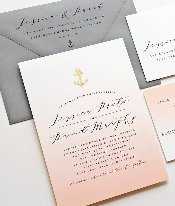 sample of wedding invitation letter%0A NEW Jessica Coral Ombre Nautical Wedding Invitation Sample with Gold Foil  Stamped Anchor  Shell  Starfish or Palm Tree