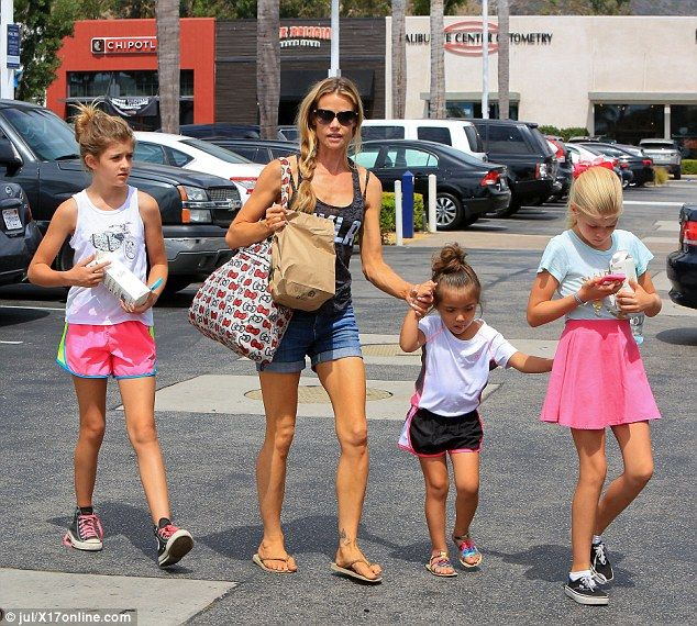 Family outing: Denise Richards brought her three daughters to the mall in Malibu on Saturday