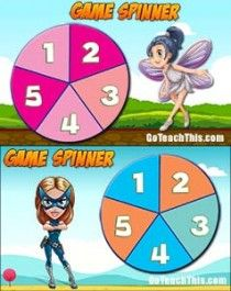 FREE Game Spinners - 2 Printable and 2 Electronic Versions for the IWB. Check out the video of how they work :-)