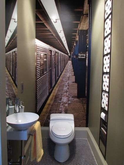 LOVE this idea for a powder room!  the perspective adds the feeling of space to what is a tiny room ...