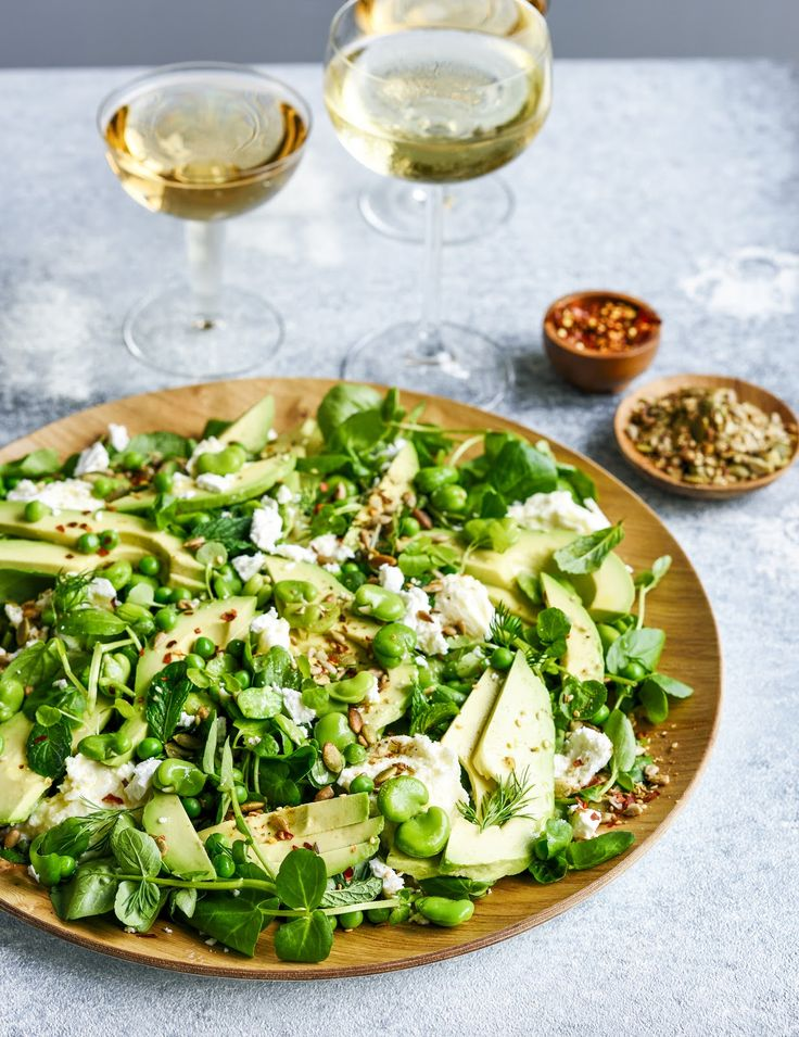 avocado, broad bean and goat's cheese salad