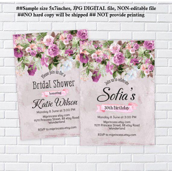 Purple Floral Birthday Invitation Baby Shower Bridal Vintage Card 11