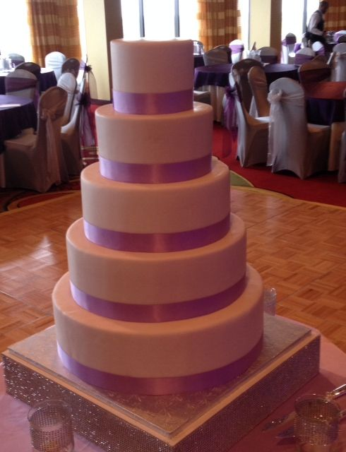 Gorgeous Pink And White Adorned Cake