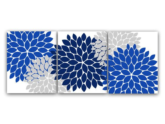 Home Decor Wall Art, Blue And Gray Flower Burst Art, Bathroom Wall Decor,  Blue Bedroom Decor, Nursery Wall Art