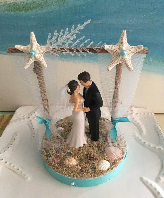 Pergola Beach Wedding Cake Topper Bride And Groom On A Beach Cake