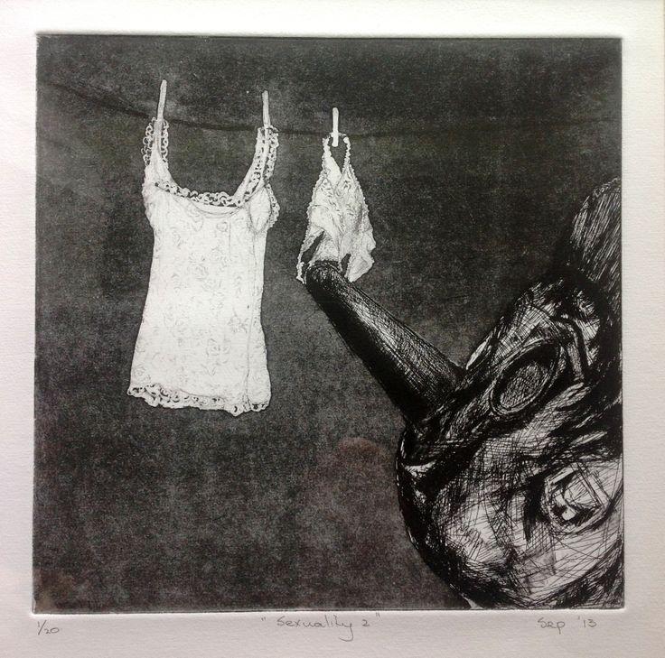 #Pauline Hugo Etching #hard ground #etching #underwear #lingerie #washing line #Pinocchio #sexuality #wooden #nose #intaglio
