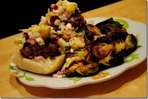 Mini Hamburger Sliders with Feta & Artichoke Salsa | iowagirleats.com