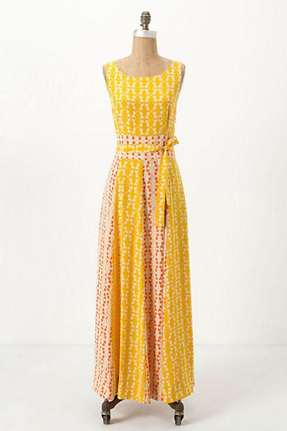 Anthropologie 'Hummingbird' silk maxi