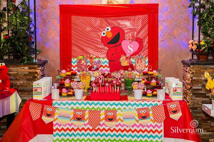 Amazing dessert table at a Sesame Street Elmo birthday party! See more party ideas at CatchMyParty.com!