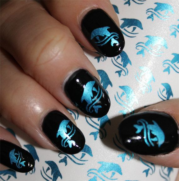 53+Metallic+Blue+DOLPHIN+NAIL+ART++Dolphins+in+by+NorthofSalem,+$6.99