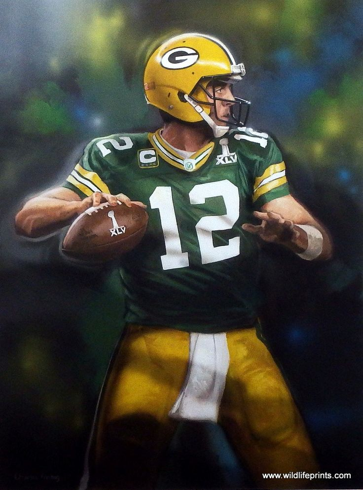 Charles Freitag has painted a great image of Aaron Rodgers #12 of the Green Bay Packers football team. OUT OF THE SHADOW must mean he no longer plays as back-up to Favre. Available for sale in an unfr