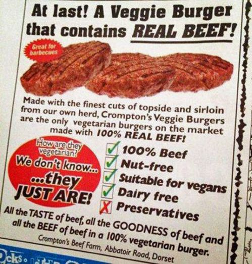 veggie burgers with real beef!