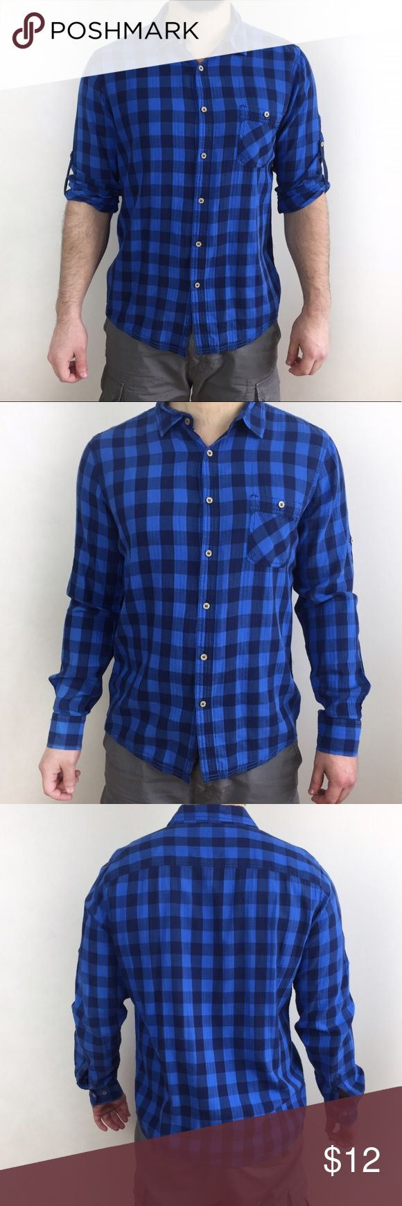 2x$15 PULL & BEAR ZARA PLAID SHIRT PULL & BEAR ZARA SISTER COMPANY PLAID SHIRT IN SIZE EU XL, Fits like a Large USA. Look and feel of pre loved but in great condition, no holes or stains. Bundle it with the other ones available for. 2x$15 Zara Shirts