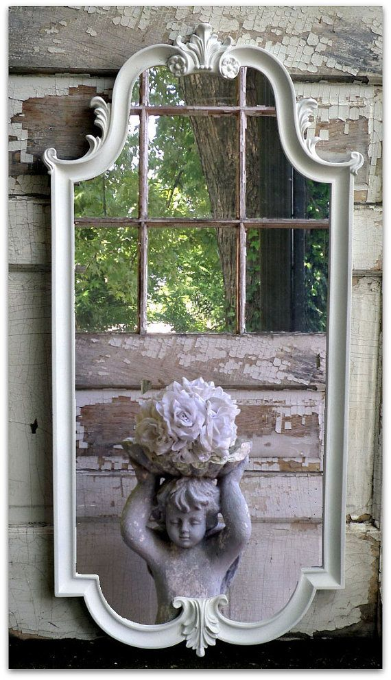 Long Vintage Chic White Mirror Shabby by smallVintageAffair, $289.00