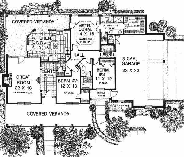 Plan 48061FM: Three Bedroom House Plan Southern Style