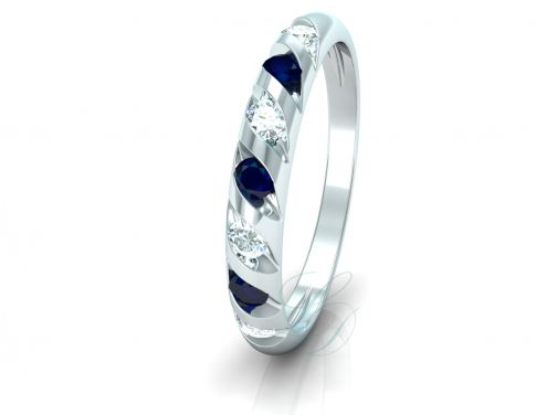 VIOLETA BLUE SAPPHIRE - Wedding Ring For Her - LucyDiamonds.cz 14k white gold, diamonds and blue sapphires...