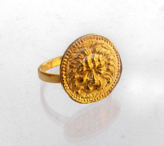 Lion Zodiac Ring  Mens Coin Ring  Greek Jewelry  by profoundgarden