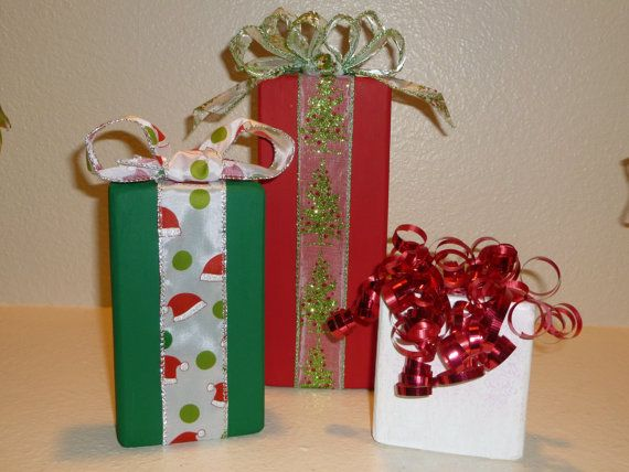 Christmas Wood Blocks Set of 3 Presents by LisasLittleJoys on Etsy, $10.00