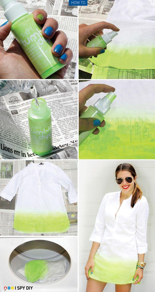 Spray dye I Spy DIY Jenni's neon ombre dress!