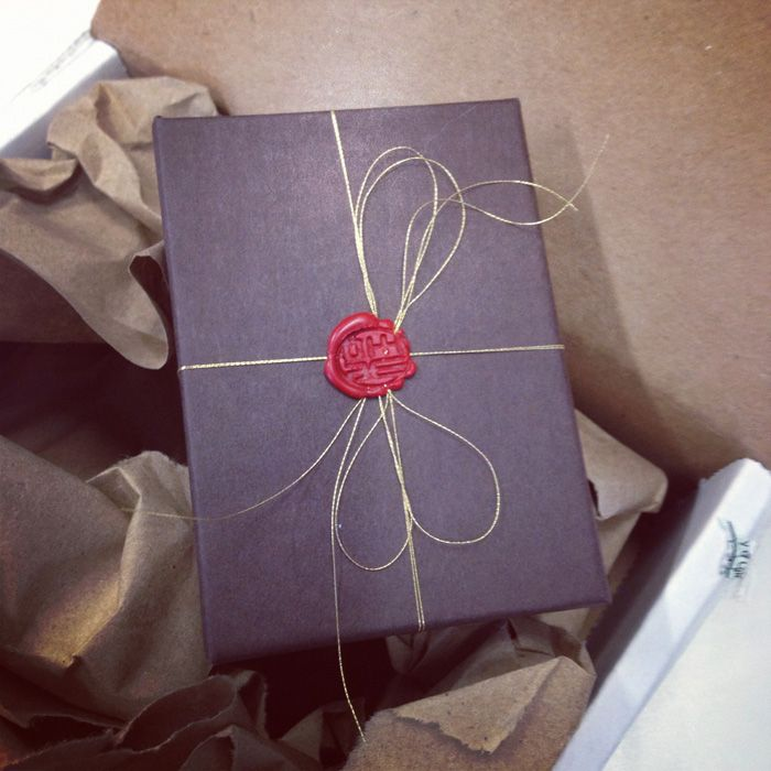 Wax Stamp + Black Wrapping Paper