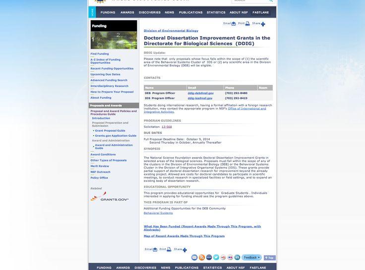 nsf doctoral dissertation improvement grants