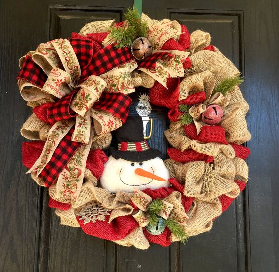 Christmas burlap wreath Snowman Burlap by ShellysChicDesigns