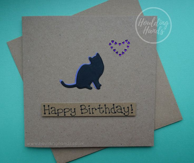 Unique handmade cat silhouette and heart of purple gems birthday card.  The card has the silhouette of a cat sitting with their tail to the side. The shadow of the cat is purple which matches the violet gems used to make a heart just above the cat. The sentiment is added with 3D foam and reads: Happy Birthday  FRONT OF THE CARD: The card can be personalised with the name of the recipient or a specific sentiment such as: Happy Birthday, Happy Valentines Day or Happy Anniversary free of…