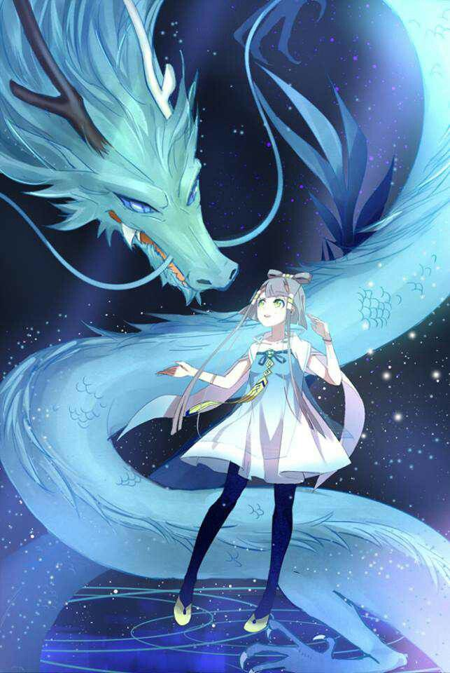 ✮ ANIME ART ✮ dragon. . .outer space. . .stars. . .anime girl. . .silver hair. . .dress. . .fantasy. . .cute. . .kawaii