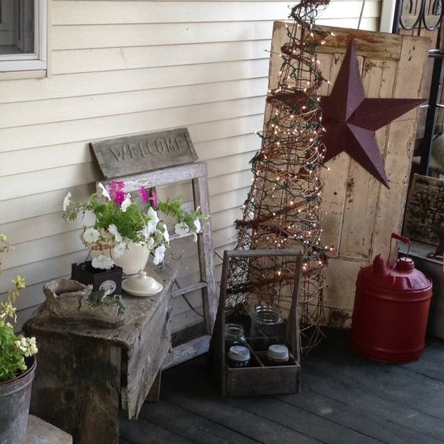 80 best deck the christmas porch images on pinterest for Country christmas decorations for front porch