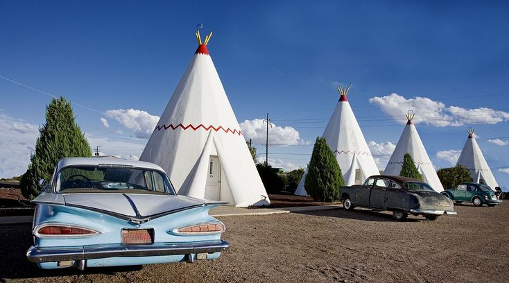 15 only-in-America sights you'll see on a Route 66 road trip: On Route 66 in Holbrook, Arizona, not too far from the Grand Canyon, is one of two remaining Wigwam Motels on the Mother Road. This was a hotel chain set up in the '30s, and there are now only three remaining, two of which are on Route 66 (the other is in Rialto, CA). Incidentally, the rooms are shaped like tipis, not wigwams.