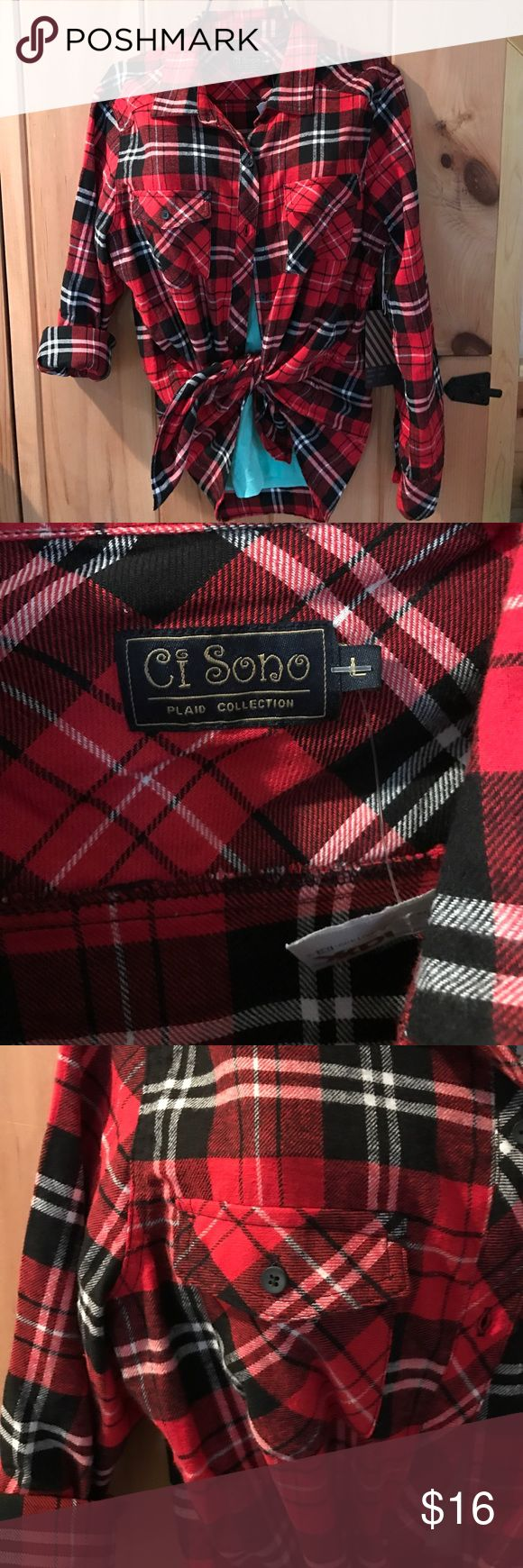 Ci Sono plaid flannel shirt. Soft classic plaid Ladies Size Large.  NWT classic red lumberjack plaid.  Wear it like a shirt or a jacket. Ci Sono Tops Button Down Shirts