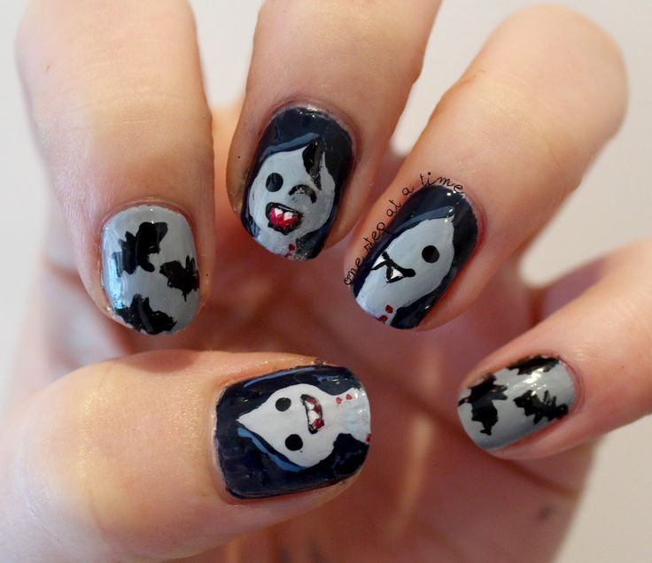 Marceline the Vampire Queen. Because I love Adventure Time.  #nails #nailart #freehand #adventuretime