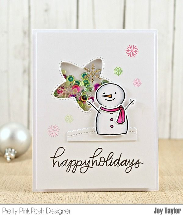 Pretty Pink Posh October Product Release Blog Hop! | happy holidays shaker card | Simple By Design by Joy Taylor