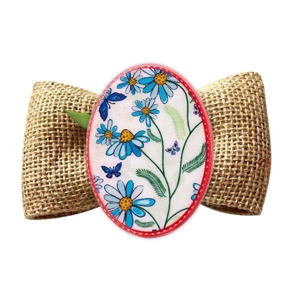 Broșă mărțișor tip pin Flori de câmp albastru