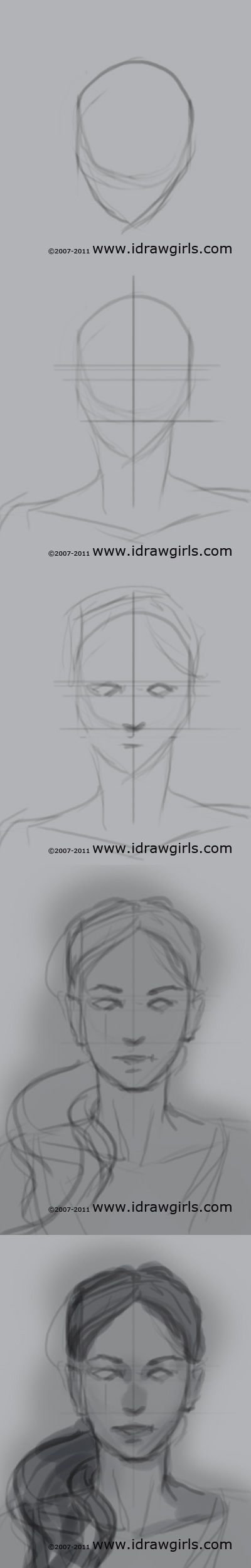 drawing portrait tutorial front view (1):. Stroke. Face. Anatomy.